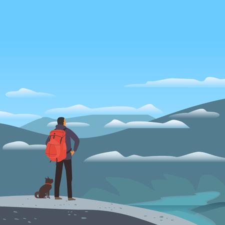 Paysage de vallée de montagne. Voyage de tourisme d'aventure vacances en dehors de la ville. Affiche de vue panoramique de nature sauvage. Homme, chien dans les hautes montagnes des Alpes. Scène extérieure de dessin animé minimal. Fond de campagne de vecteur Vecteurs