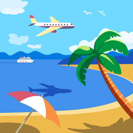 Summer seaside landscape. Blue ocean scenic view poster. Freehand drawn cartoon retro style. Holiday vacation season sea resort travel for leisure. Vector tourist fun trip advertisement background 写真素材 - 127722340