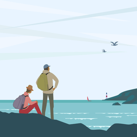 Time for adventures concept. Young couple of tourists on seashore enjoy marine landscape scenic view. Backpacking family travel. People hiking to the sea beach. Minimal style. Vector illustration 写真素材 - 127722341