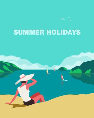 Sommerlandschaft am Meer. Blaues Poster mit malerischer Aussicht auf das Meer. Freihändig gezeichneter Pop-Art-Retro-Stil. Urlaub Urlaubssaison Seereisen Freizeit. Erholung am Meer. Vektor-Touristenreise-Werbungshintergrund