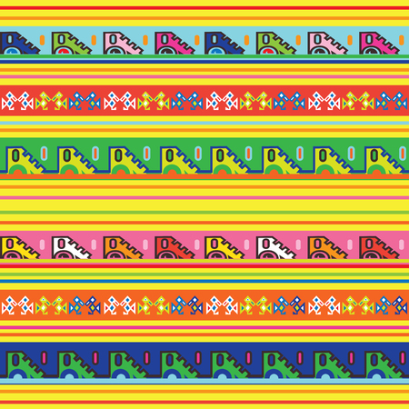 Mexican seamless pattern. Multicolored endless border. Ornament of signs old traditional Latin American style. Decorative playful background. Wallpaper, web banner vectror illustration quirky design 矢量图片