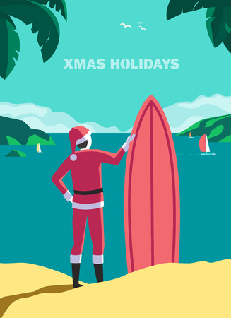 Winter holiday seaside vacation concept. Hand drawn retro pop art style. Christmas season sea fun rest. Quirky surfer Santa Claus enjoy surfing on ocean coast. Vintage vector new year trip background