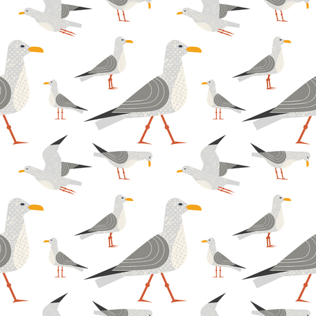 Cute hand drawn sea gull seamless pattern. Childlike flat vector background. Quirky seagulls sea life design element. Simple modern geometric style, textured shape illustration for fabric, wallpaper