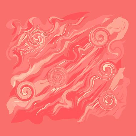 Oil paints abstract coral color stroke swirls Ilustração