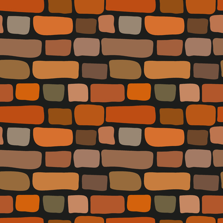 Simple style seamless cute cartoon brick wall texture. Vector red bricks tile. Old stone loft pattern illustration. Fun retro style background. Quirky hand drawn background tile texture design element  イラスト・ベクター素材