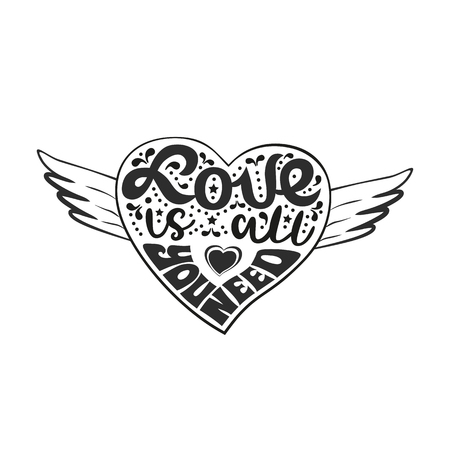 Love in heart tattoo, Romantic love graphic icon. Inspirational quote in heart with wings. Hand drawn fancy lettering. Vector vintage letters. Valentine day symbol, weeding design element background