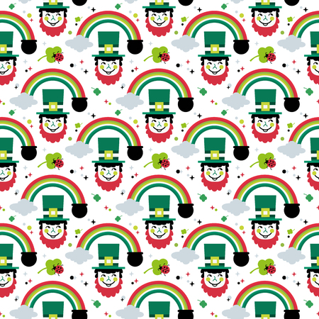 St. Patrick's Day seamless pattern. Cute quirky cartoon sign illustration. Traditional Irish holiday celebration symbol. Leprechaun hat, red beard. Ireland green clover shamrock. Vector design element