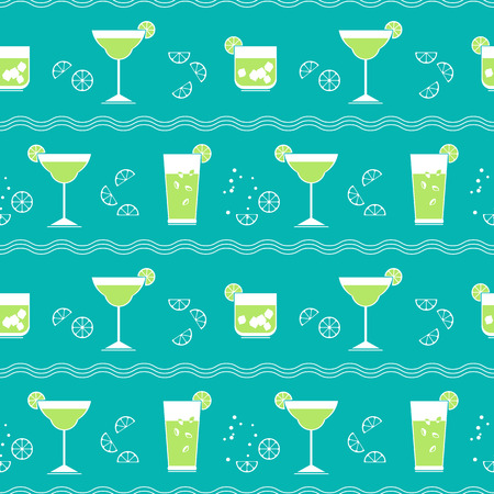 Flat cocktail party vector seamless pattern. Alcoholic liquor decorative pattern. Bar drinks menu, restaurant wine card background. Club cocktails collection template. Tropical beverage vintage sign