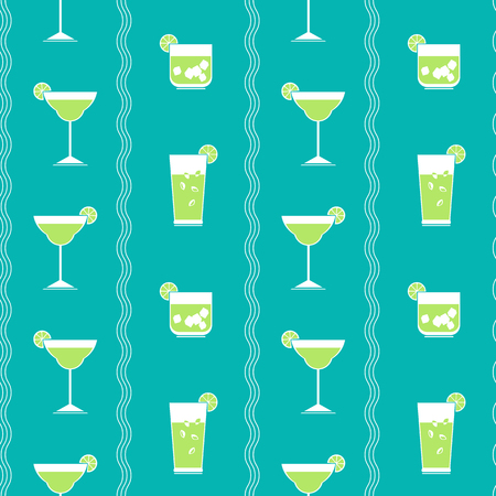 Flat cocktail party vector seamless pattern