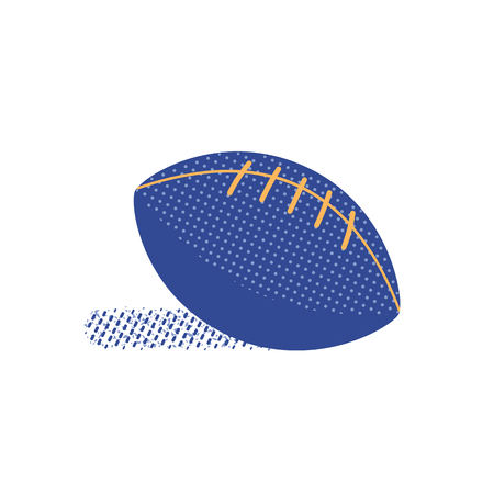 American football flat hand drawn vector color icon. Sport image minimalist style. Leather oval ball for footballing. Team game sportive outdoor competition equipment. Isolated cartoon illustration