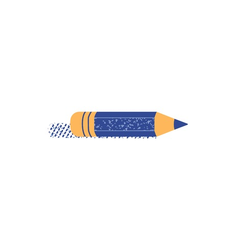 Pencil flat hand drawn vector color icon. Education symbol in cute minimalist style design. School study drawing tool sign. Office writing stationery. Pencil with eraser isolated cartoon illustration