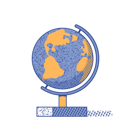 World globe flat hand drawn vector color icon. Education symbol in cute minimalist design. Geography science object. Travel world map. Earth travelling sign. School icon isolated cartoon illustration Stockfoto - 124996560