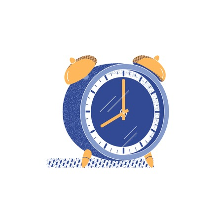Mechanical alarm clock flat hand drawn vector. Timing watch for morning alarm cute symbol. Round shape bell timer with ringing signal stopwatch in retro minimalist style. Isolated cartoon illustration