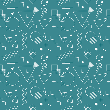 Memphis Swiss style seamless pattern. Flat geometric creative isolated vector pattern. Bright decorative print design element. Abstract graphic retro minimalistic style texture background template