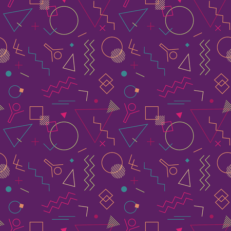Memphis Swiss style seamless pattern. Flat geometric isolated vector pattern. Bright fun decorative design element. Abstract graphic retro style texture background. Modern vibrant bold color template Illustration