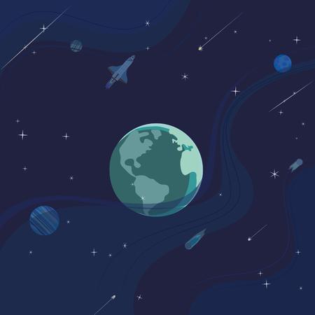 Outer space abstract cartoon background Ilustração