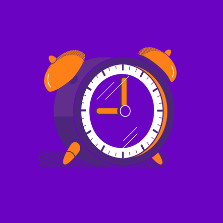 Old Alarm clock flat hand drawn vector icon. Timing watch for morning alarm cute symbol. Round shape bell timer with ringing signal stopwatch retro minimalist cartoon. Bold vibrant color illustration Illustration
