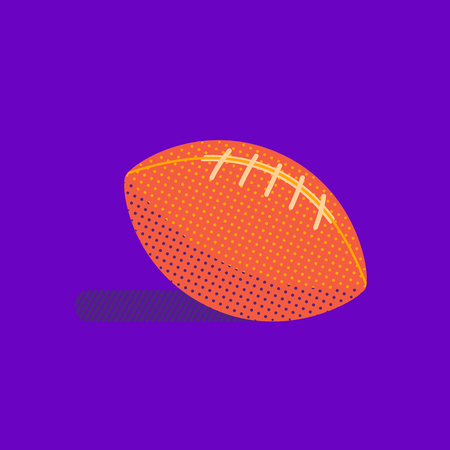 American football flat hand drawn vector bright color icon. Sport image minimal design style. Leather oval ball for footballing. Team game sportive outdoor competition equipment cartoon illustration