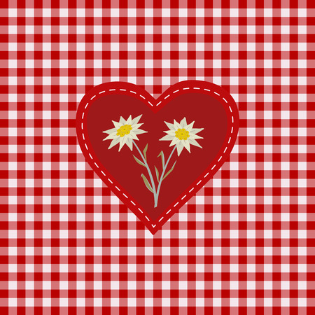 Hand drawn edelweiss flower in red heart. Vector Star shape national symbol of Alpes, Mountain alpine plant cartoon. Traditional decorative design element on textured checkered background illustration Illustration