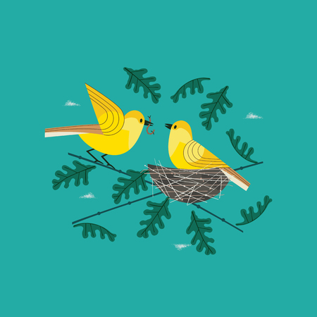Cute birds couple in nest icon. Hand drawn cartoon. Minimal simple design. Male bird is feeding by worm female sitting on eggs in straw nest on tree branch. Vector birdwatching background illustration
