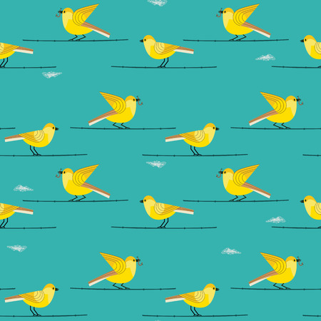 Hand drawn birds seamless pattern