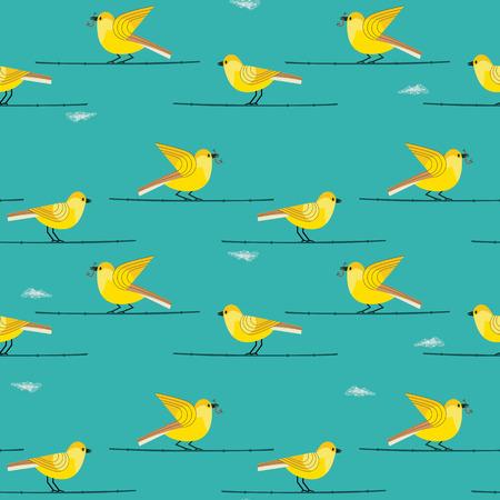 Modèle sans couture oiseaux dessinés à la main