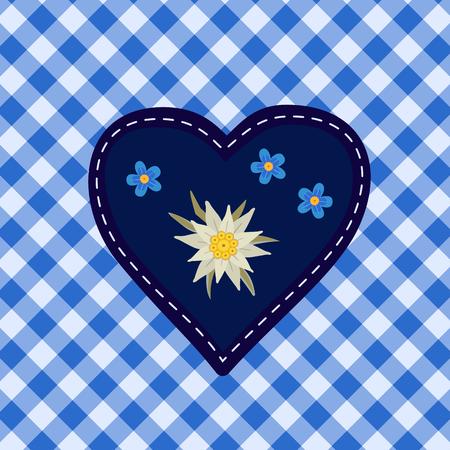 Hand drawn edelweiss flower, heart. Vector symbol of Alps Mountain plant cartoon. Traditional Oktoberfest fair event blue white decorative design element on textured checkered background illustration Vector Illustration