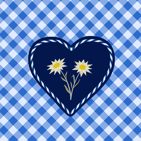 Hand drawn edelweiss flower, heart. Vector symbol of Alps Mountain plant cartoon. Traditional Oktoberfest fair event blue white decorative design element on textured checkered background illustration Illustration