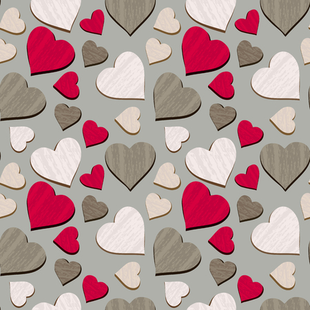 Texured hearts seamless pattern isolated. Hand drawn colorful heart shape cartoon. Textile decorative background. Template wrapping paper, wallpaper, web banner. Print project vector illustration