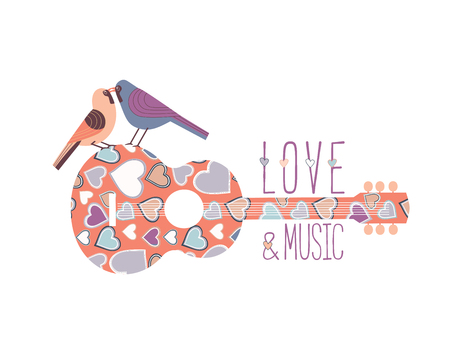 Romantic music icon concept. Hand drawn vintage guitar silhouette, kissing birds. Classic guitar flat design element. Musical fest poster, flyer template. Seasonal event background vector illustration Illustration