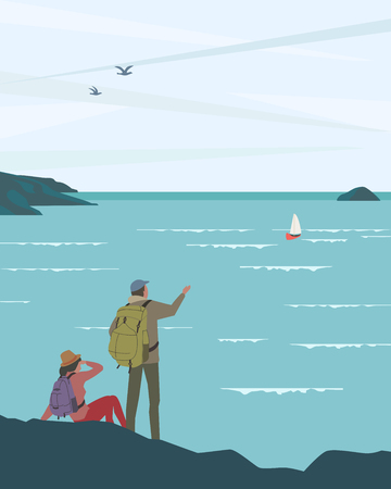 Time for adventures concept. Travelling tourists on seashore enjoy marine landscape scenic view. Backpacking family travel. People hiking to the sea beach. Minimal style. Vector journey illustration
