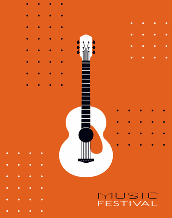 Template Design Poster with acoustic guitar silhouette. Hand drawn string musical instrument. Live Music Festival show promotion advertisement. Seasonal event background vector vintage illustration