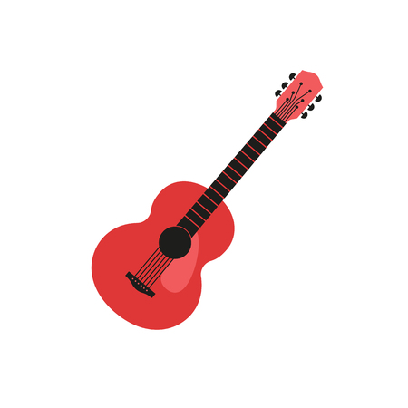 Acoustic guitar silhouette. Hand drawn flat design element. Classic guitar vintage music icon. Musical string instrument poster, emblem logo template. Avertisement event background vector illustration