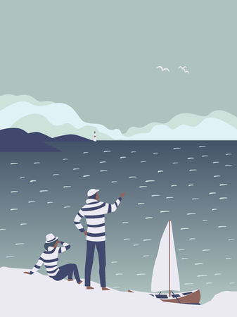 Time for adventures concept. Travellers by sailboat hand drawn cartoon. Sailors enjoy adventure boat sailing in open sea explore new horizons. Seaside landscape. Together journey vector illustration