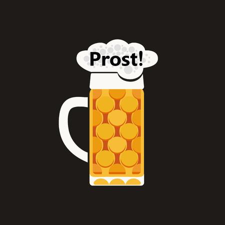 Oktoberfest event flat design element. German cheers wishing Prost. Bavarian beers festival vector background illustration. Traditional glass stein cold beer cartoon symbol. Brewery pub advertisement