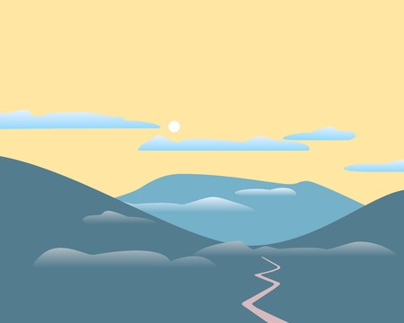 Mountains panorama landscape. Abstract mounts silhouette range. Flat minimalistic style. Blue mountain terrain horizon, fog in the valley. Layered scenic view background. Vector flyer, banner template