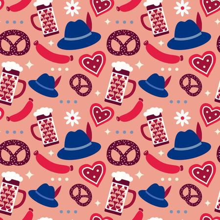 Oktoberfest symbols seamless pattern