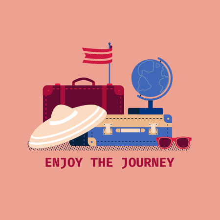 Time to travel icon. Flat hand drawn tourism trip symbols collection. Happy journey design elements. Travel tour leisure advertisement banner template. Vector around the world travelling illustration Illustration