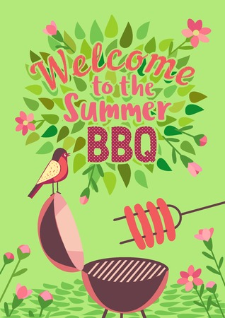 Summer barbecue picnic vector welcome poster. Grilled smoked sausages on long metal skewers. BBQ grill hand drawn vector. Summer season outdoors concept background. Scandinavian cartoon illustration Illustration
