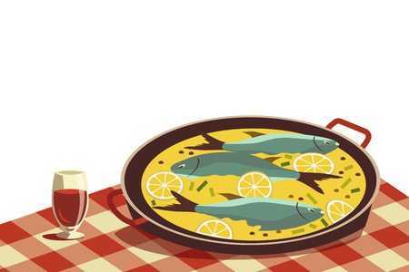 Flat hand drawn vector color seafood icon. Fish food in pan, wine glass on tablecloth. Fry sea food retro style isolated Scandinavian cartoon illustration. Design idea for fishes restaurant sign menu Illustration