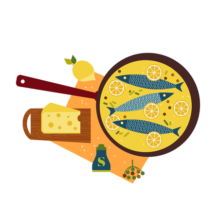 Fresh fish cooked with cheese flat hand drawn vector icon. Seafood fried in pan color scandinavian cartoon illustration. Tasty sea food, lemon retro style isolated. Concept idea fishes restaurant menu