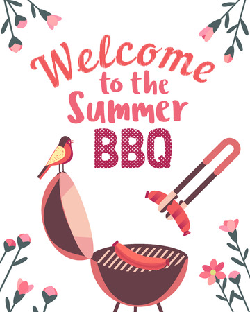 Summer barbecue picnic vector welcome poster. Grilled smoked sausages on grill cute cartoon. BBQ grill hand drawn vector. Summer season outdoors concept background. Scandinavian cartoon illustration Illustration