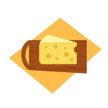 Cheese slice flat hand drawn vector top view. Cute soft swiss cheese block retro design. Triangular yellow color cheddar piece dairy product. Isolated on white scandinavian food cartoon illustration Illustration