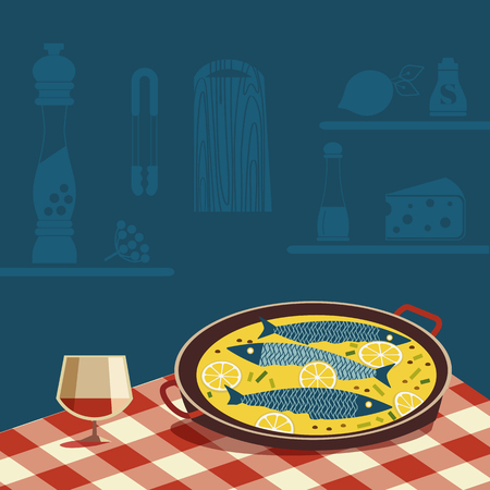 Flat hand drawn vector color seafood icon. Fish food in pan, wine glass on tablecloth. Fry sea food in cheese retro style scandinavian cartoon illustration. Design idea for fishes restaurant sign menu