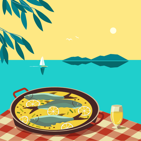 Flat hand drawn vector color seafood dish poster. Fish food in pan, wine glass on tablecloth at seascape scenic view background. Mediterranean cuisine, wine lemon on seaside cafe. Vector Illustration