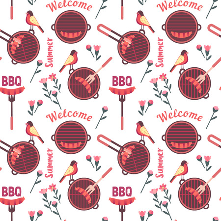 Flat hand drawn barbecue icons seamless pattern isolated on white. Vector barbecue grill cartoon collection. Welcome summer barbeque party pattern. Grilling sausage. BBQ advertisement design template Illustration