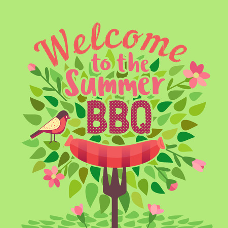 Summer barbecue picnic vector welcome poster. Grilled smoked sausage on long metal skewer. BBQ grill hand drawn vector. Summer season outdoors concept background. Scandinavian cartoon illustration