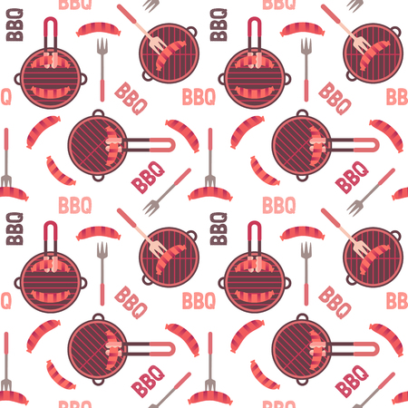 Flat hand drawn barbecue icons seamless pattern isolated on white. Vector barbecue grill cartoon collection. Round shape barbeque grid emblem. Grilling sausage. BBQ party advertisement design template