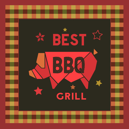 Best BBQ grill icon. Hand drawn cartoon retro style poster. Barbecue grilled pork emblem. Roasted grilling meat sign. Vector template for barbeque restaurant party invitation, signboard background