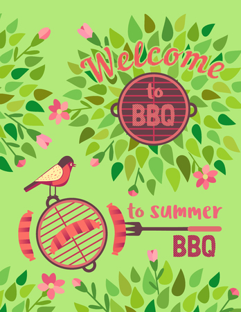 Summer barbecue picnic vector welcome poster. Grilled smoked sausage on long metal grill fork. BBQ grill hand drawn vector. Summer season outdoors concept background. Scandinavian cartoon illustration Illustration